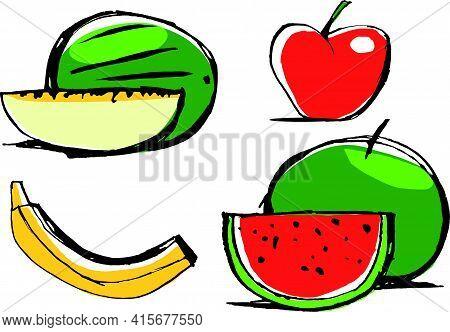 Ilustración Plana De Distintas Frutas, Melón, Manzana, Plátano, Sandia
