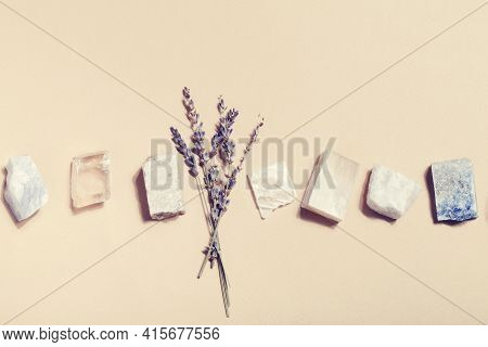 Lavender And Crystal Minerals On Beige Background. Magic Rock For Crystal Ritual, Witchcraft, Spirit