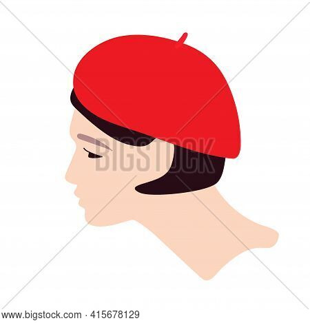Young Woman In Red Beret. Flat Vector Illuctration. Female Headwear. Portrait From Side To Profile.