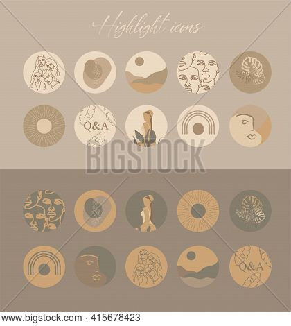 Set Of Vector Icons For Your Business, Scrapbooking, Bullet Journalling, Story Buttons. Vector Set D