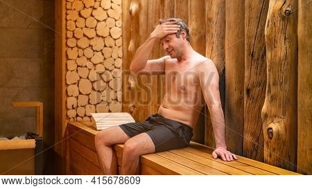 The Man Became Sick While Soaring In The Sauna. Dizziness In The Steam Room. Intolerance Of The Body