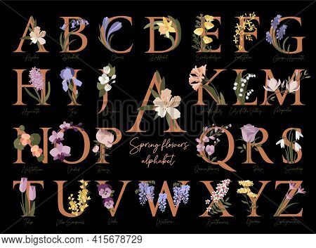 Floral Botanical Alphabet. Letters With Spring Flowers.collection Of Modern Art Letters In Pastel Co