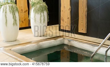 Ice Edge On The Edge Of The Plunge Bath With Very Cold Water For Hardening The Body In The Sauna Com