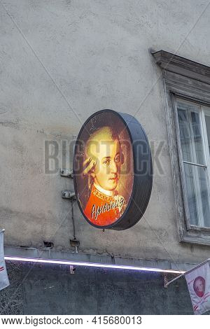 Vienna, Austria - April 25, 2015:  Advertising Neon Light With Amadeus Mozart In Vienna To Honor The