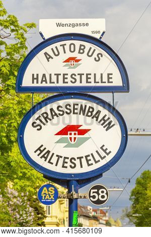 Vienna, Austria - April 24, 2015:  Logo Of Wiener Linien On A Local Tram Stop (strassenbahn Halteste