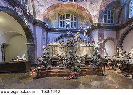 Vienna, Austria - April 26, 2015:  Crypt Of The Habsburger Kings In Vienna, Austria. The Bones Of 14