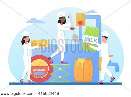Male And Female Characters Are Making Cheese Together. Professional Chef Making Block Of Cheese. Coo