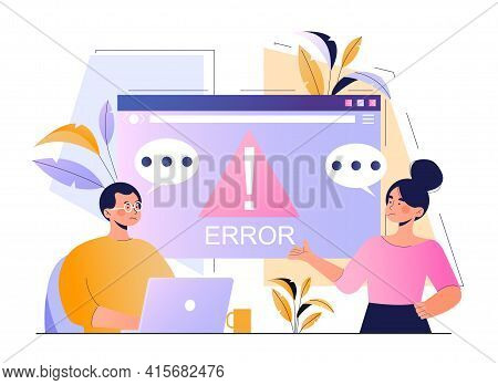 Male Character With Laptop Is Having Critical Error On Computer Screen. Young Man And Woman Are Outr