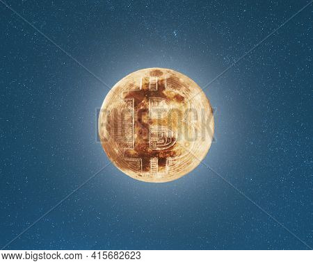 Bitcoin coin symbol on the full moon surface, starry sky background, cryptocurrency to the moon concept