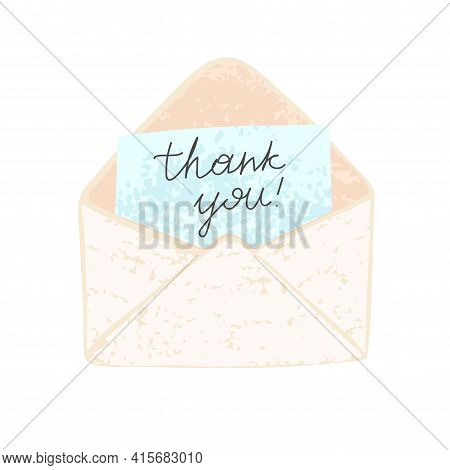 Illustration Of An Open Envelope With Paper On Which Is Written Thank You