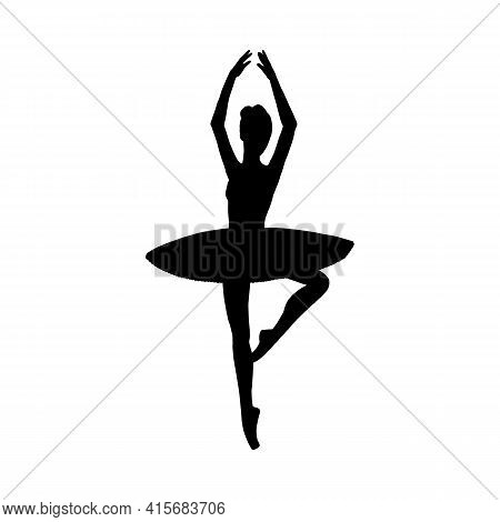 Dancing Ballerina Black Silhouette A Vector Isolated Illustration.