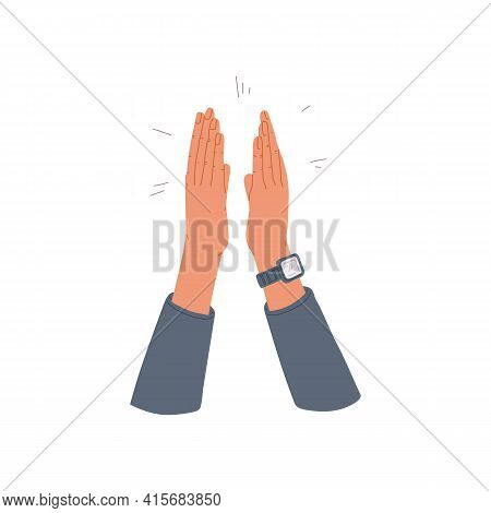 Human Palms Loudly Applause A Flat Cartoon Vector Isolated Illustration.