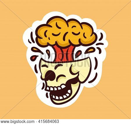 Colorful Screaming Skull Sticker With Brain Explosion. Old School Style Of Art. Stylish Vintage Scre