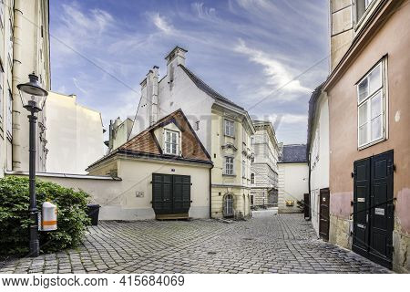Vienna, Austria - April 26, 2015:  Typical Old Houses In Vienna First District In The Famous Area Mo