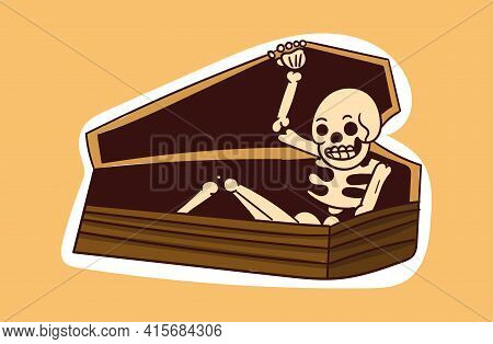 Colorful Dead Skeleton Sticker Coming Out Of Coffin. Old School Style Of Art. Stylish Vintage Dead D