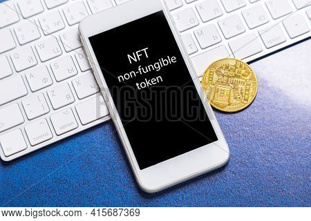 Crypto Art Concept. Blockchain Called Nfts. Digital Collectibles For Cryptocurrencies. Non-fungible