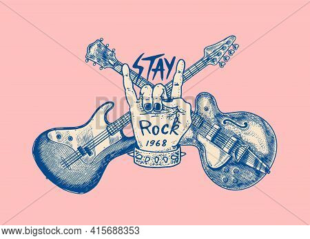 Guitar And Hand For Jazz Festival. Drawn Grunge Sketch With A Tattoo Or T-shirt Or Woodcut. Rock Con