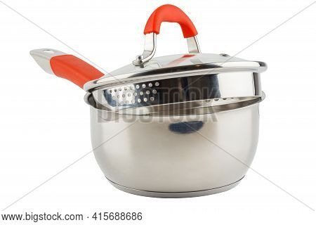 Small Shiny Stainless Steel Pot With Orange Handle And Glass Lid - Isolated On White