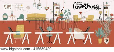 Coworking Office Interior. Modern Coworking Open Space Center. Creative Green Workplace Environment.