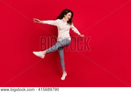 Full Length Photo Of Excited Sweet Young Lady Wear Collar Pullover Dancing Jumping High Isolated Red