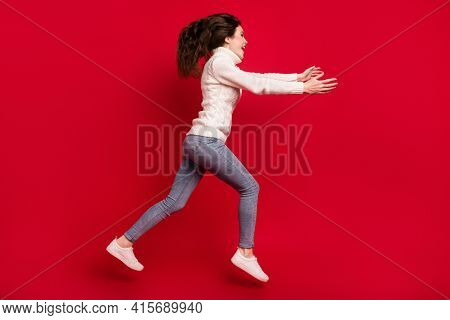 Full Length Photo Of Friendly Kind Young Lady Wear Collar Pullover Jumping High Running Open Arms Is
