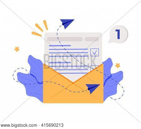 Vector Banner Of Email Marketing. Subscription To Newsletter, News, Offers, Promotions. A Letter In