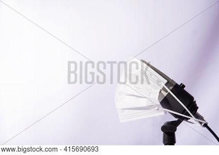 Home Work, Professional Condenser Microphone Using Mask Against Covid-19 On White Background, High K