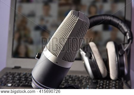 Home Work, Professional Condenser Microphone, Computer And Headset On Light Background, Selective Fo