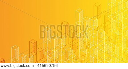 Technology Background.yellow Banner.geometric Rhombuses.abstract Tech.technical Drawing.vector .