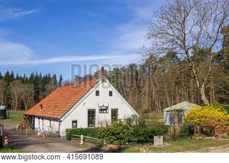 Drents-friese Wold, Netherlands - March 30, 2021: Little White House In The Forest Of The Drents-fri