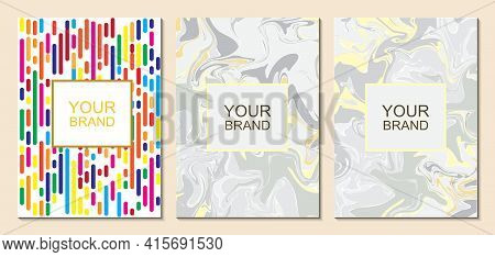 Elegant Textured Business Card Set, Marble Background. Golden-white Background And Geometric Energet
