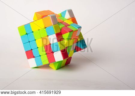 Araras, São Paulo, Brazil, April 4, 2021, Magic Cube With White Background And Shadow, Selective Foc