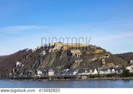 Koblenz, Germany - February 14, 2021: Ehrenbreitstein Fortress In Koblenz, Germany Under Blue Sky.