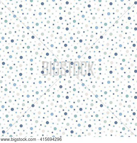 Polka Dot Seamless Vector Pattern. Blue, Green And Beige Points, Confetti On White Background For Cu