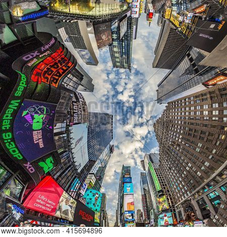 New York, Usa - October 22, 2015: Times Square, Featured With Broadway Theaters And Huge Number Of L
