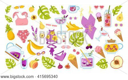 Summer Scrapbook Cartoon Set. Hawaiian Beach Party Doodle Elements. Summertime Icon Ice Cream, Cockt
