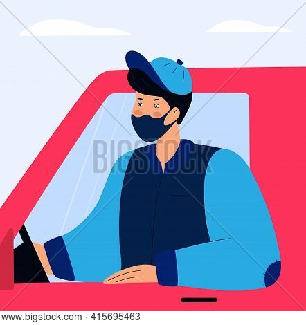 Covid-19. Quarantine. Coronavirus Epidemic. Delivery Man In A Protective Mask Delivers Food By Car.