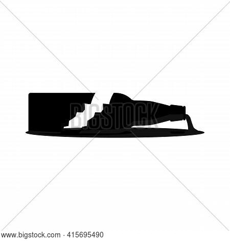 Broken Beer Bottle With Splinters And Puddle. Silhouette Black. Isolated Vector Cartoon Clipart On W