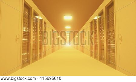 Modern Yellow Network And Telecommunication Technology Computer Concept: Server Room In Datacenter.
