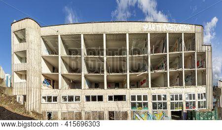 Wiesbaden, Germany - March 11, 2021: Old Demolished Devasted Building Site In Wiesbaden.