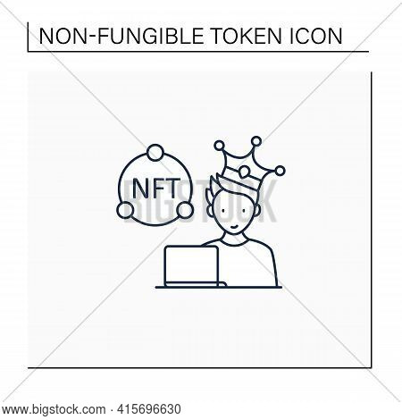 Nft Artist Line Icon. Content Creator. Crypto Artist. Creating More Nfts Works. Having Copyright. Di