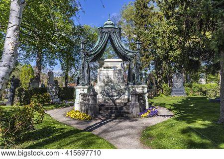 Vienna, Austria - April 26, 2015:  Last Resting Place Of Mayor Johann Prix At The Vienna Central Cem