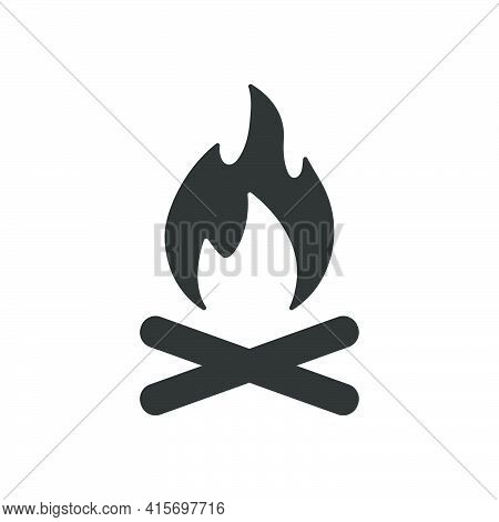 Campfire With Firewood Icon. Fire Burn Black Symbol. Vector Isolated On White