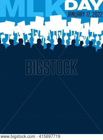 Abstract Illustration Of Many People Carrying Signs At Protest March. Poster Or Banner Template For