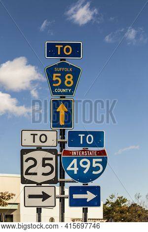 Riverhead, Usa - October 26, 2015: Signage To Highway, Interstate Country Road And Direction Arrows