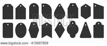 Price Tag Black Icon Set. Different Shapes Flat Labels For Retail Business, Sale Market Promotion Sp