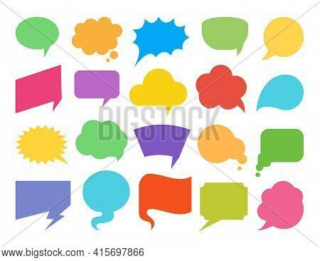 Colorful Speech Bubbles Flat Icon Set. Empty Design Elements For Comic Book, Text Message, Chat Comm