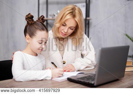 School, Homework And Distance Education Concept - Portrait Of Happy School Girl Doing Homework With