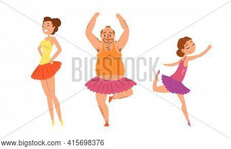 Funny People Dancing Wearing Tutu Dress Set, Parents Dancing With Their Daughter Cartoon Vector Illu