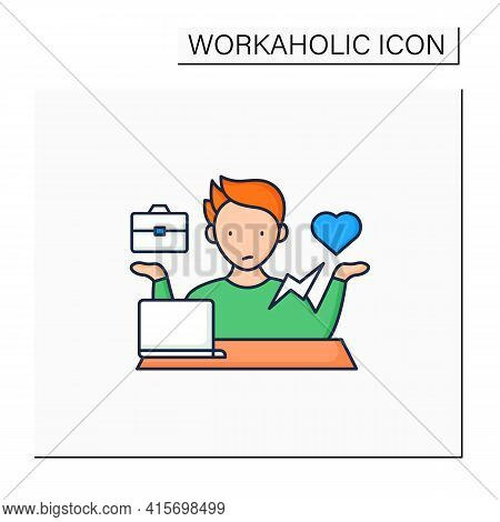 Workaholic Color Icon. Conflict Between Private Life And Work. Dilemma. Man At Laptop.overworking Co
